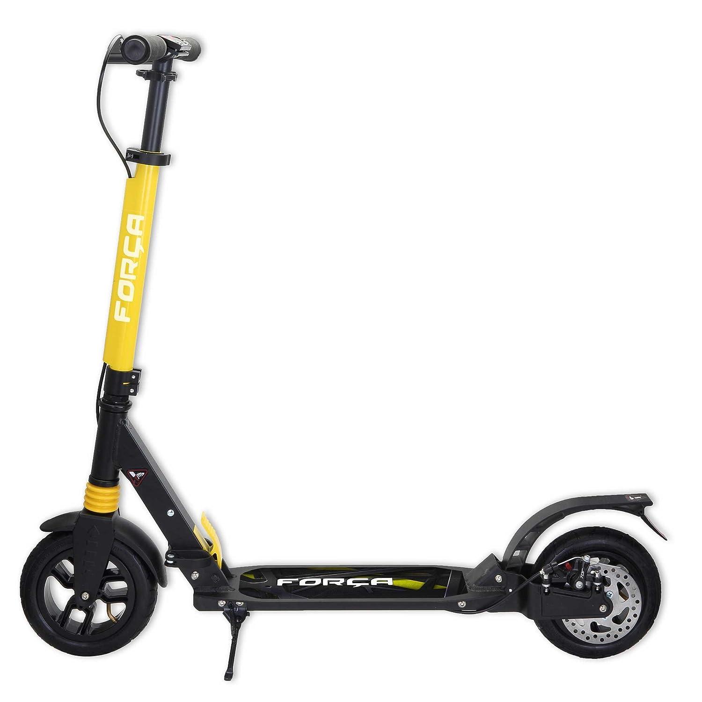 FORÇA Flake 20 Big Wheel City Kickscooter in Gelb mit laufleisen 200 mm Luftreifen, Doppelfederung, klappbar und höhenverstellbar, Scheibenbremse, Roller für Erwachsene und Kinder