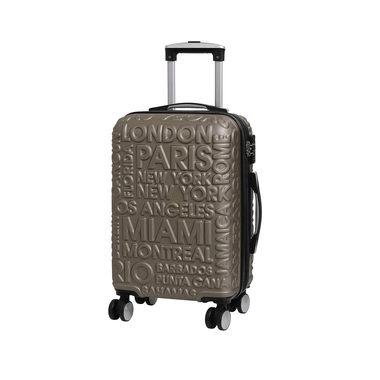54 cm Gold 48 Liters 8 Wheel Hard Shell Single Expander Suitcase with TSA Lock Maleta it luggage Destinations II Dorado