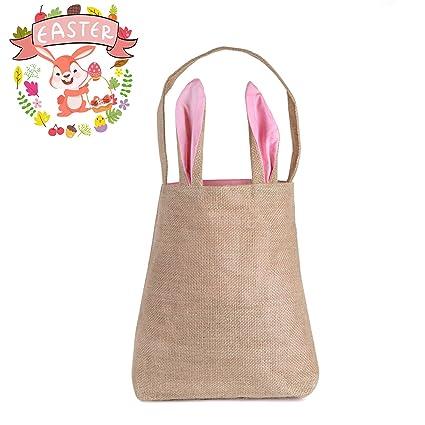 Amazon easter bunny bag hblife easter gift bag dual layer easter bunny baghblife easter gift bag dual layer bunny ears design jute cloth bag negle Images