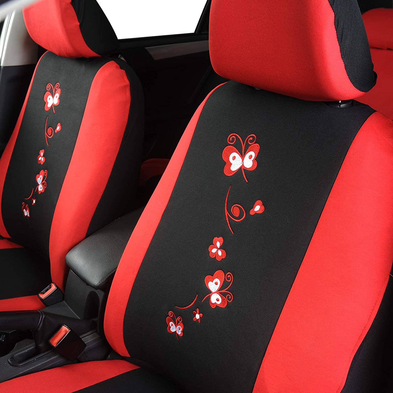 eSituro Funda de Asiento de Coche Universal Set de Fundas de Asiento para autom/óvil con Mariposa Flor Negro Rosa SCSC0062