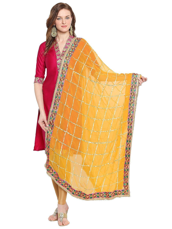 Dupatta Bazaar Woman's Yellow & Gold Phulkari Border Dupatta DB1510