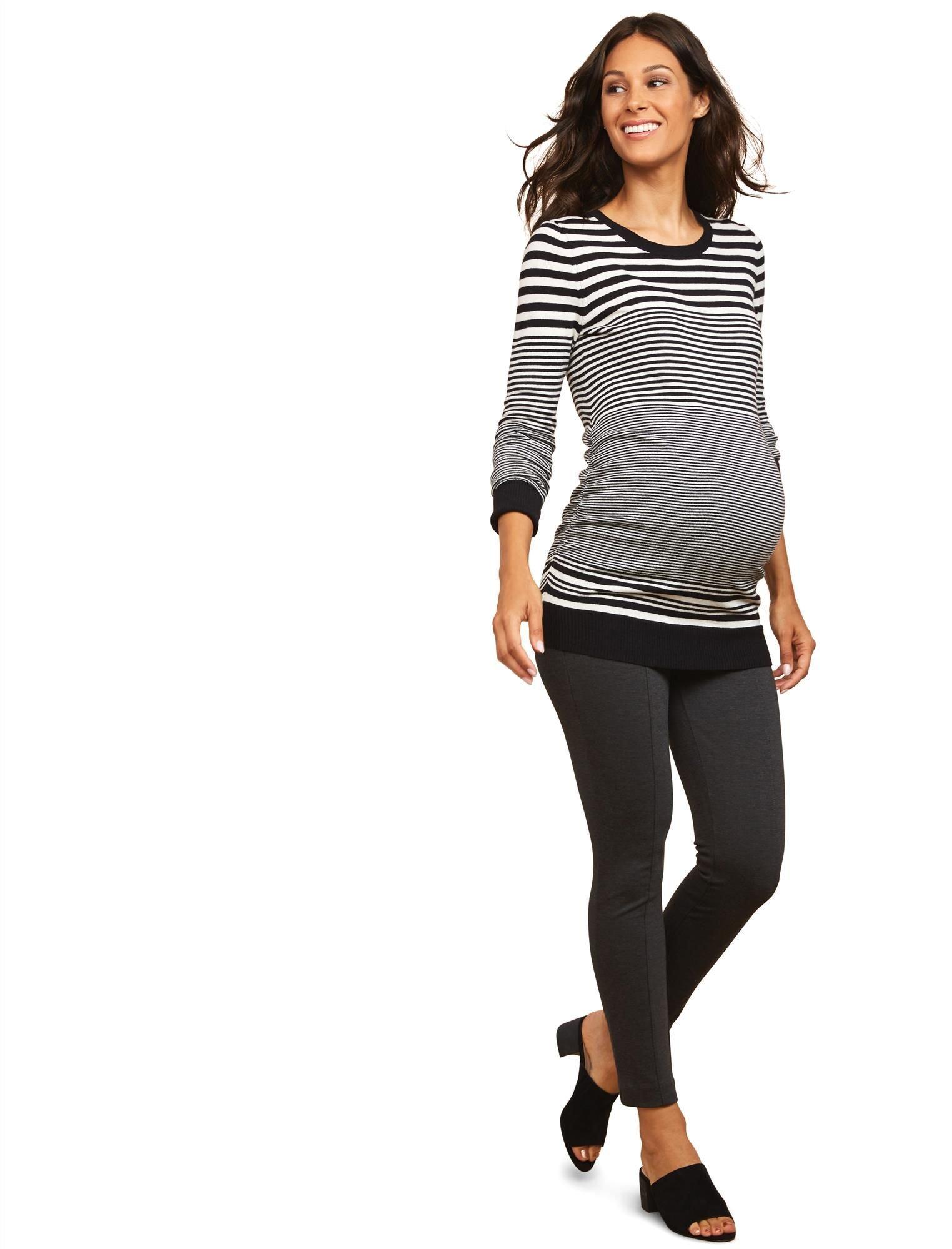 Motherhood Maternity Women's Ponte Secret Fit Belly Ankle Skinny Pant, Heather Grey, Small