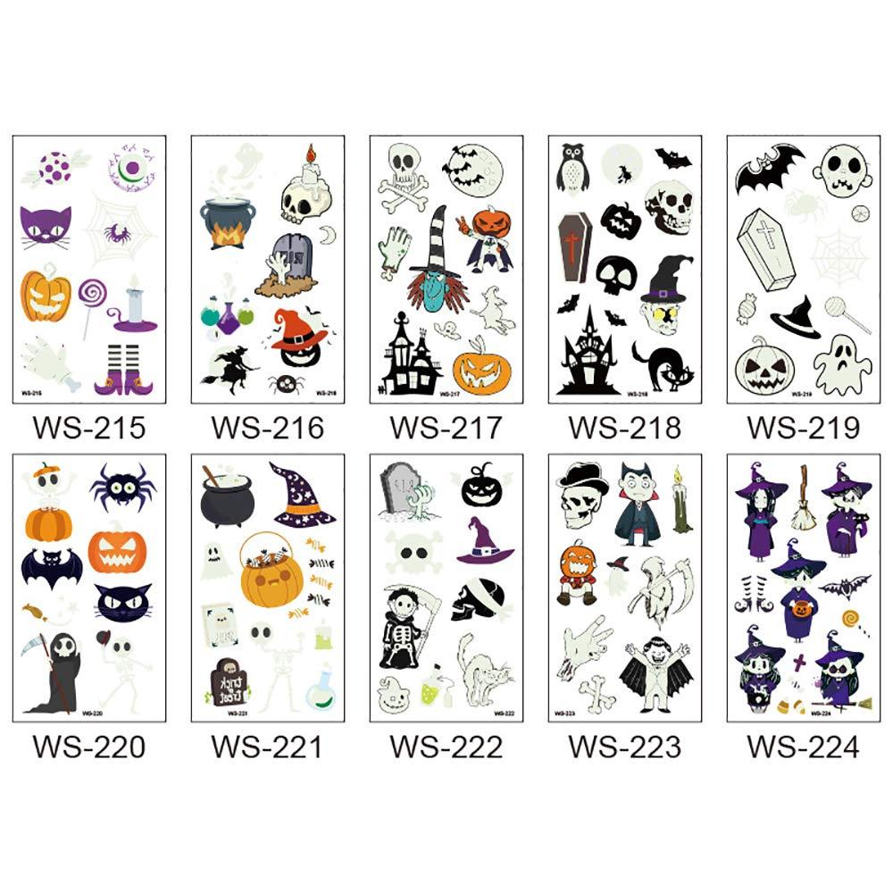 kungfu Mall 10pcs Halloween Tatuaggi temporanei Spider Web Zucca Faccia Simulazione Autoadesivo del Fumetto per Bambini Glow in The Dark