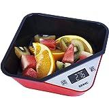 Duronic KS100RD Tragbare Küchenwaage mit integrierter Schüssel / Digitalanzeige bis zu 5 kg / Rot