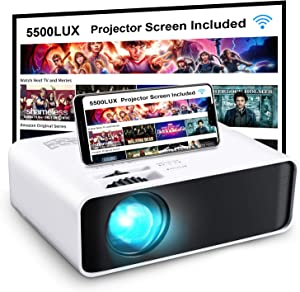 """Projector, GooDee WiFi Mini Projector with Projector Screen, Synchronize Wireless Video Projector LED 1080p Full HD, 200"""" Display Portable Home Movie Projector Compatible with TV Stick/DVD/USB/HDMI"""