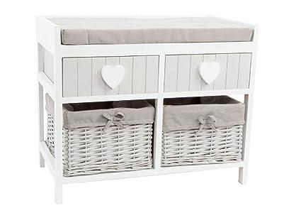 Mueble/banco descalzador de madera blanca con 4 cajones.: Amazon.es ...