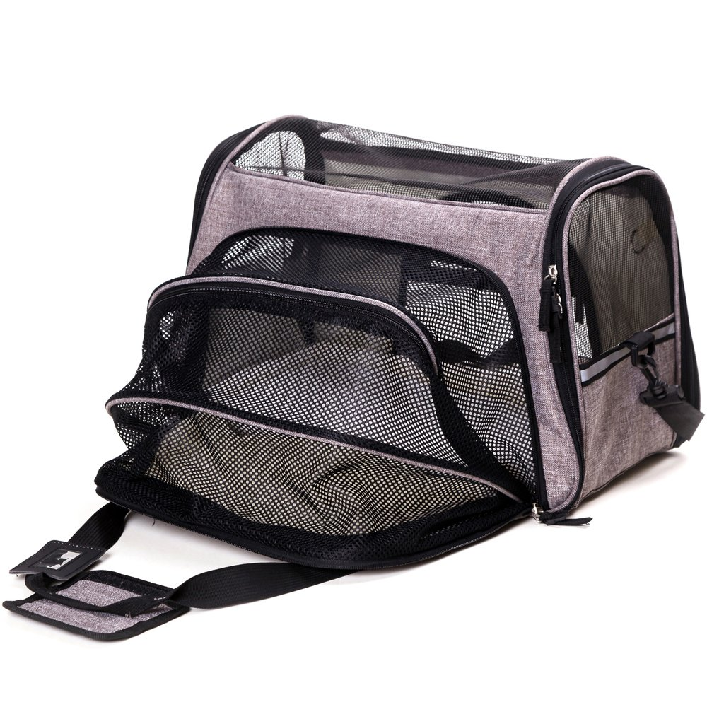 FurryTastic Premium Expandable Airline Approved Pet Carrier with Zipper Lockers and Leash Hook Collapsible Dog Carrier Best Cat Carrier for Small Breed Dogs Cats Kittens and Puppies (Grey)