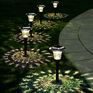 Glass Solar Light Outdoor, 6 Pack Solar Pathway Lights, Super Bright Solar Garden Lights Outdoor, Auto On/Off, Colorful/Warm White Landscape Path Lights Waterproof for Walkway, Lawn, Yard