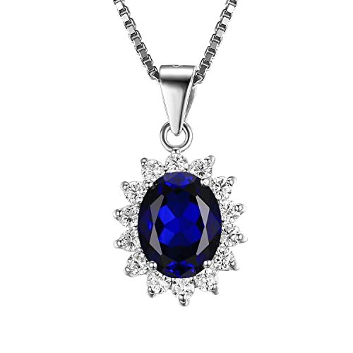7d7e058542c22 JewelryPalace Gemstones Stone Birthstone Statement Necklace for Women 925  Sterling Silver Halo Pendant Necklace for Women Princess Diana William Kate  ...