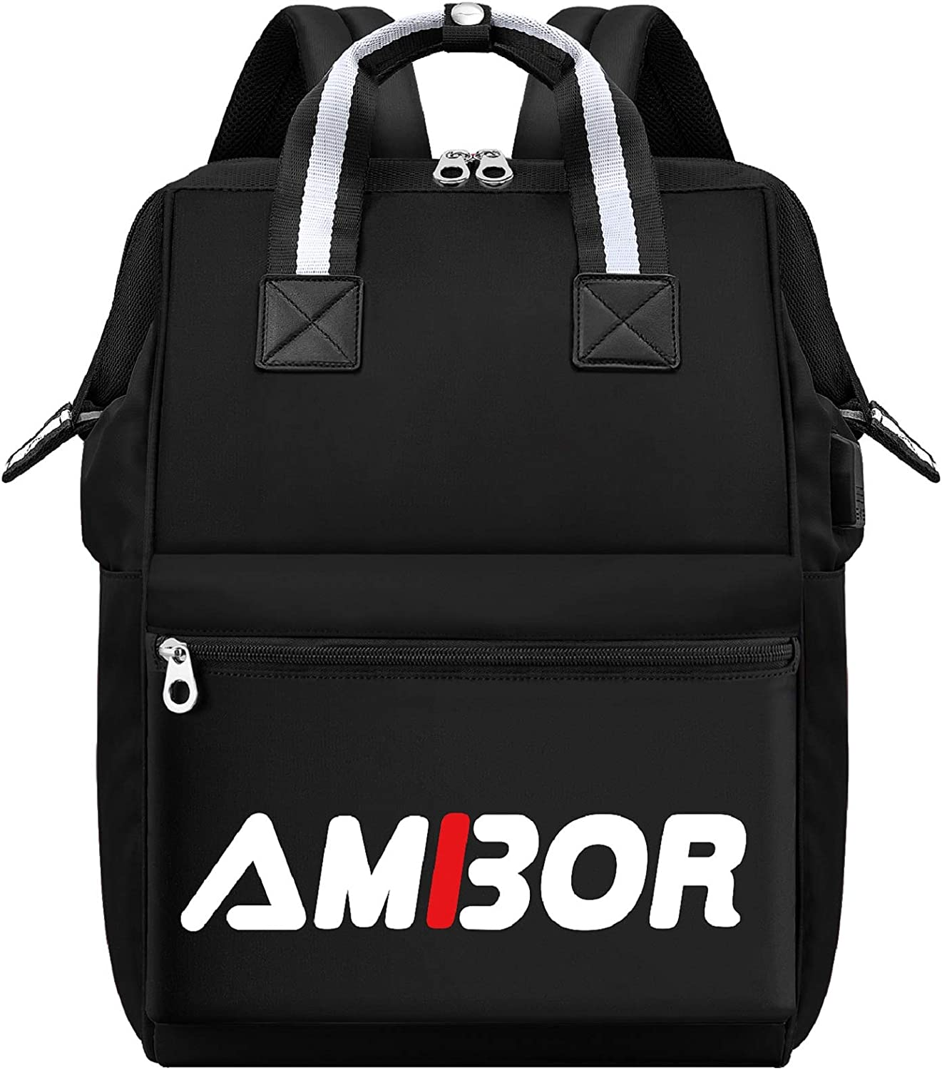 Travel Laptop Backpack, AMBOR 15.6 Inch Stylish College School Computer Backpack with USB Charging Port for Women Men, Water Resistant Business Laptop Backpack Casual Daypack Laptop Bag Tablet