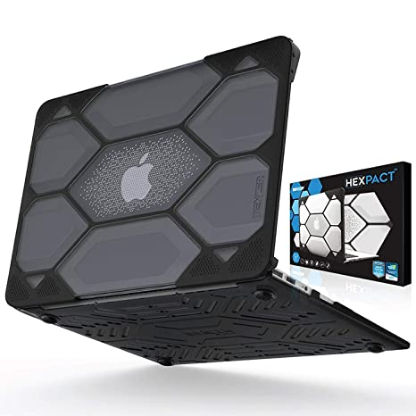 competitive price aa4e7 0c6eb IBENZER Hexpact MacBook Air 13 Inch Case, Heavy Duty Protective Hard Case  Shell Cover for Apple MacBook Air 13 A1369 A1466 NO Touch ID, Black ...