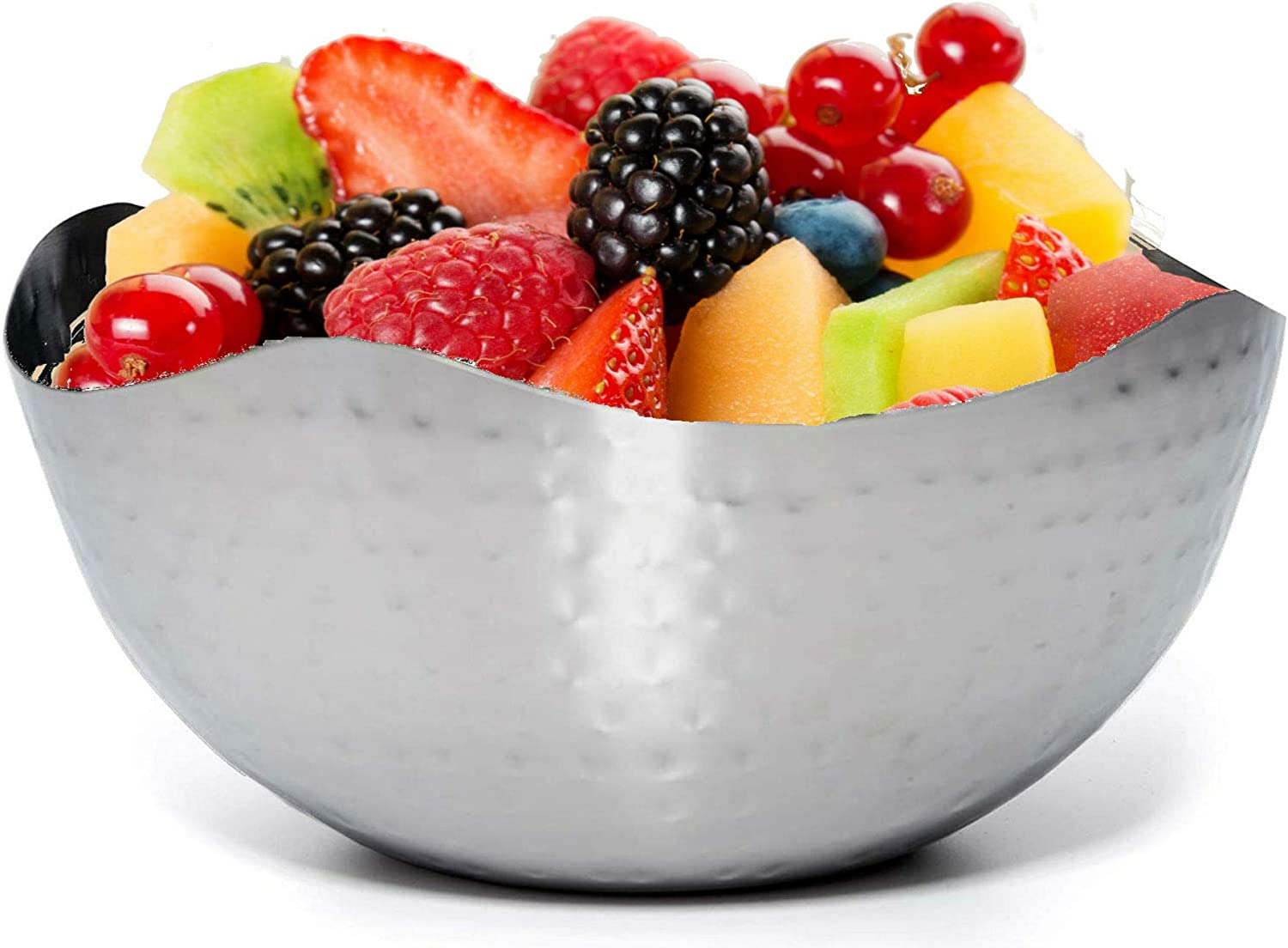 "Bezrat Hammered Stainless Steel Serving Bowl – Multipurpose Fruit/Salad/Snacks Decorative Metal Wave Bowls (9.4"" x 9.4"")"
