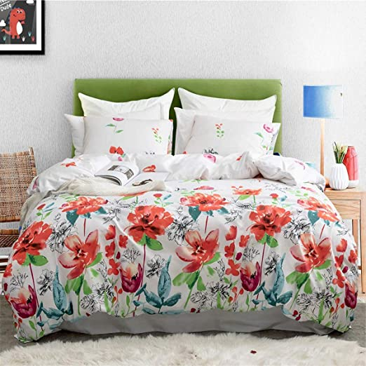 Easy Care Cotton Blend Duvet Covers Watercolour Floral /& Leaf Print Bedding