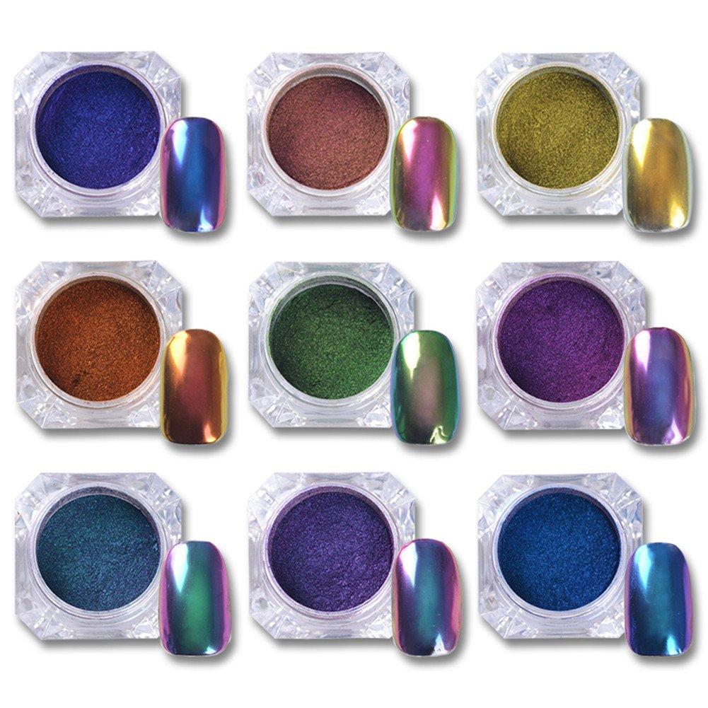 BORN PRETTY 9 Boxes 0.5g Top Grade Chameleon Nail Glitter Powder Nail Polish UV Gel Chrome Pigment Black Base Needed