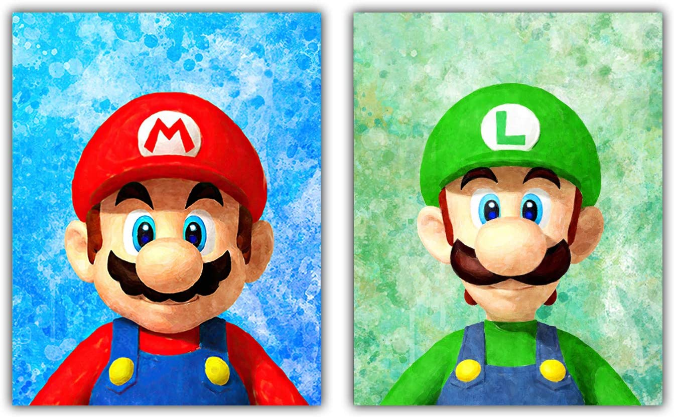 Watercolor Art Print Wall Print Video Gaming Wall Decor Super Mario Room Decor for Boys Gamer Room Decor Classic Game Cartoon Mario Brothers Poster Prints on Canvas Wall Art Kids Bedroom Décor