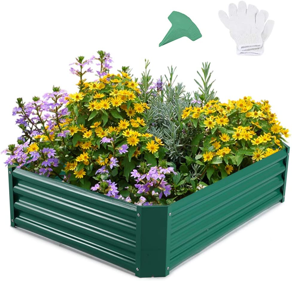 GROWNEER 48 Inches Green Metal Raised Garden Bed with 1 Pair of Gloves and 15 Pcs Plant Labels, Elevated Planter Box for Vegetables, Fruits, Flowers, Herbs
