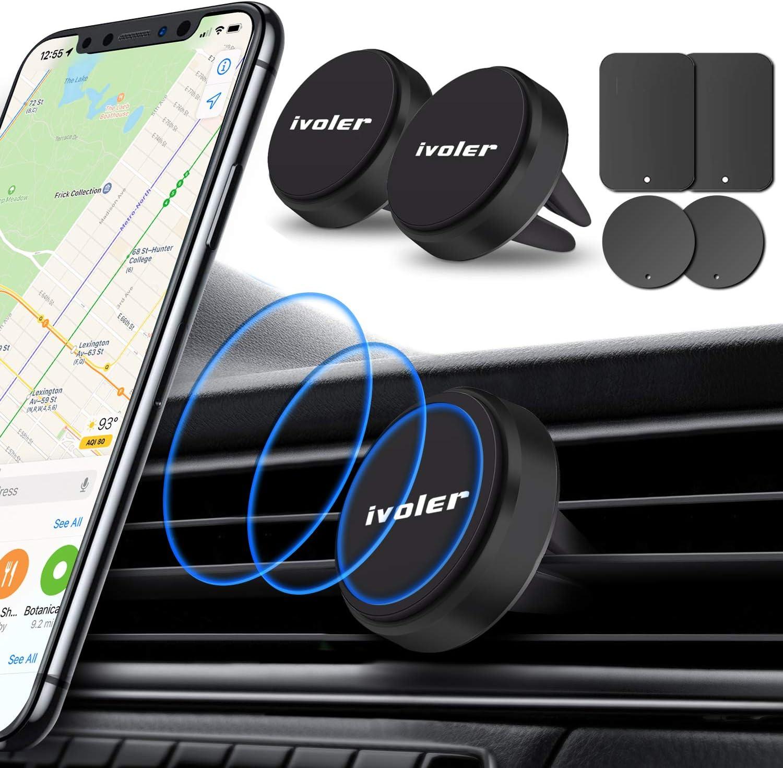 ivoler 2 pack Soporte Móvil Coche Soporte Magnético para Rejilla del Aire,360°Rotación Iman Móvil Coche para iPhone 7/6s/6/5,Samsung Note8/S8,Xiaomi,BQ,LG y Dispositivo GPS,Negro