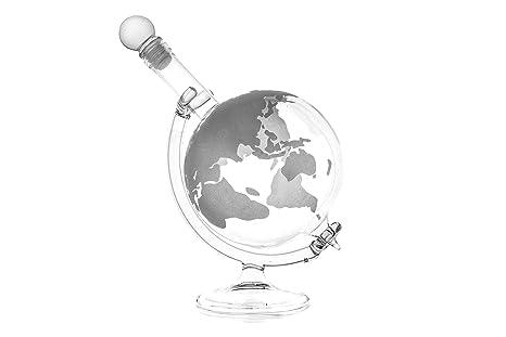 1 Botella de Vidrio Vacía Globo Jarra 750 ml con Pie de Vidrio Forma de Tierra