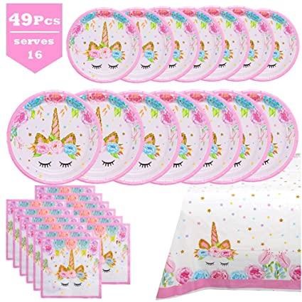 Amazon.com: Unicorn Party Supplies Set - Juego de platos y ...