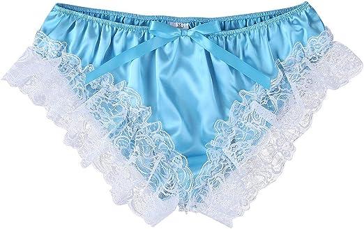 MSemis Mens Silk Satin Frilly Boxer Shorts Bloomers Underwear Sissy Crossdress Lingerie Nightwear