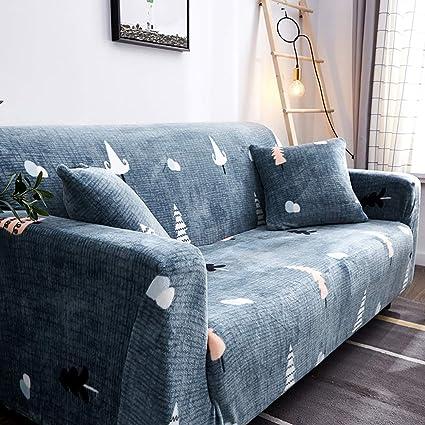 D&LE Funda de sofá Cubre 1 2 3 4 Plazas Color Puro Felpa Protector de sofá Terciopelo Fácil Ajuste elástico Tela Stretch Protector para sofás-L 1 ...