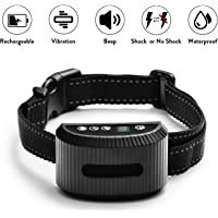 2019 Latest Model TIMPROVE Dog Bark Collar, Rechargeable Waterproof Anti Bark Dog Training Collar with 7 Adjustable Level Sensitivity Harmless Shock and Vibration, Warning Beep Sound, LED Display for 10-120 lbs Dogs