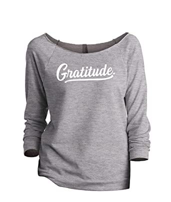 0672dacaab7 Thread Tank Gratitude Women s Fashion Slouchy 3 4 Sleeves Raglan Sweatshirt  Sport Grey Small