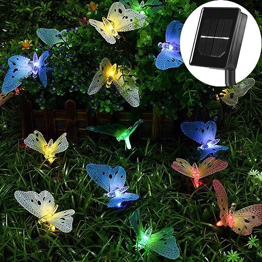 GQNLY Luces solares de Cadena, 20 LED Mariposa Jardín de Fibra óptica Jardín Impermeable Al Aire Libre Luces de decoración accionadas por energía Solar para el Patio en casa, Fiesta, Navidad: Amazon.es: