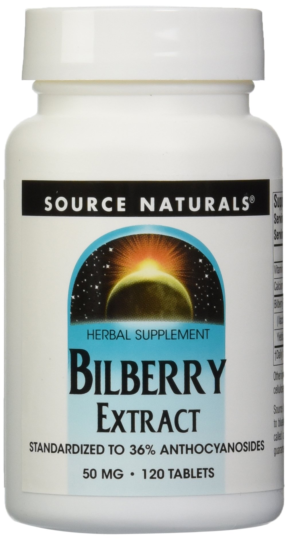 Source Naturals Bilberry Extract 50mg, 120 120 Tablets (Pack of 12)