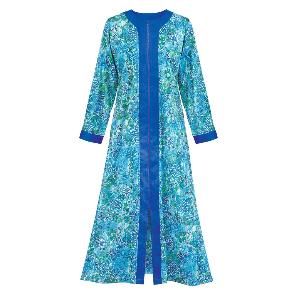 Collections Women's Zip Front Floral Long Robe, Royal Blue, Medium