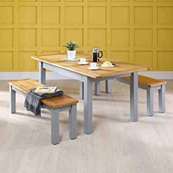 Manor Table de salle à manger de peinture Gris avec dessus en chêne ...