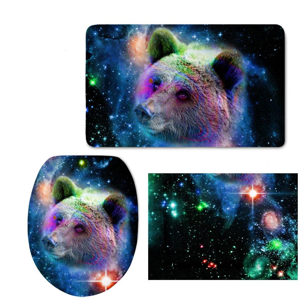 Showudesigns Unique Printing Animal Bear Toilet Seat Cover Non-Slip Bathroom Mat