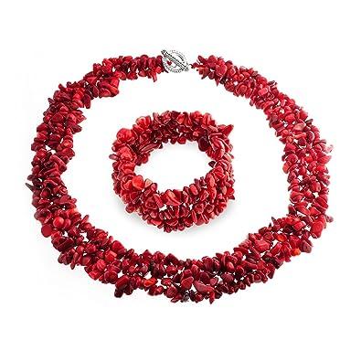 le dernier 636c7 045e5 Bling Jewelry Teint Rouge Plaquettes Cluster Corail Collier Collier  Déclaration Bib-Set de Bijoux pour Les Femmes