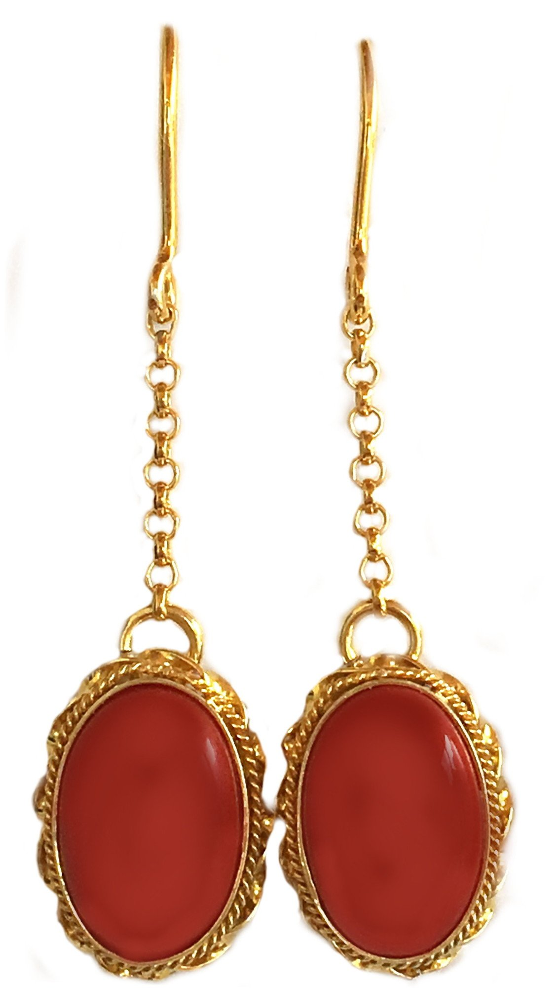 Coral Earrings Summer Dream Natural Mediterranean Coral, French Wire, 925 Sterling Silver 18K Yellow Gold Overlay, Italian