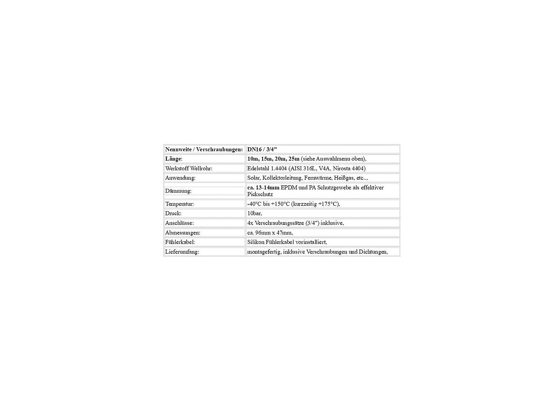 25m in den L/ängen 10m Verschraubungen 3//4 inkl. Solarleitung DN16 Solarrohr 15m Edelstahlwellrohr mit 13mm D/ämmung und Gewebemantel 20m L/änge:20m