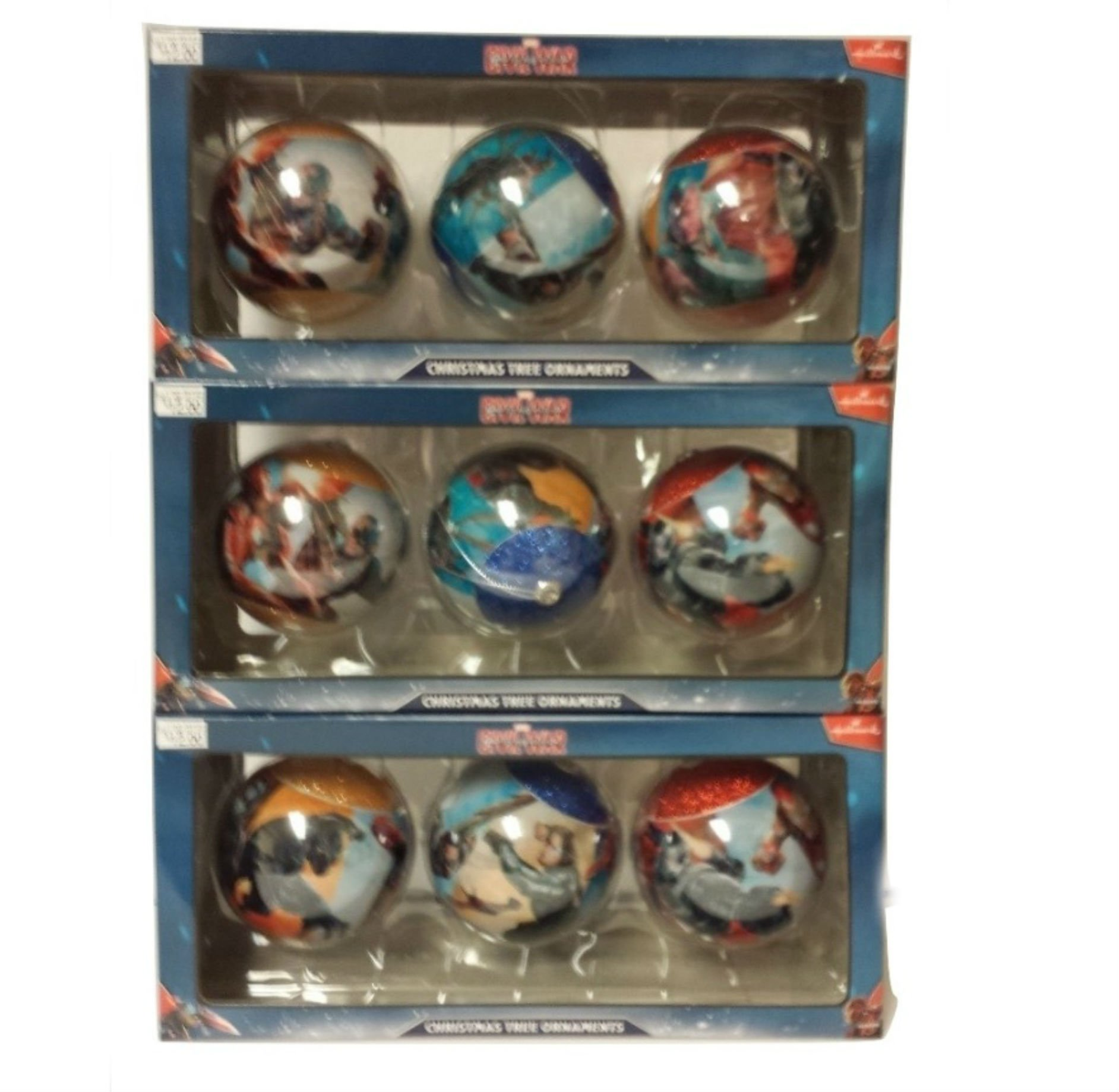 ELWF Marvel Avengers Civil War Captain America Christmas Ball Ornaments 9-pack by Hallmark