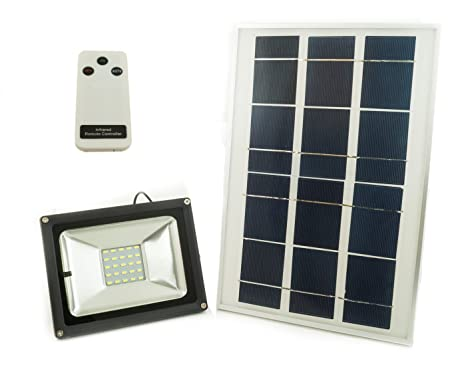 Faro led smd 30w pannello solare energia crepuscolare telecomando