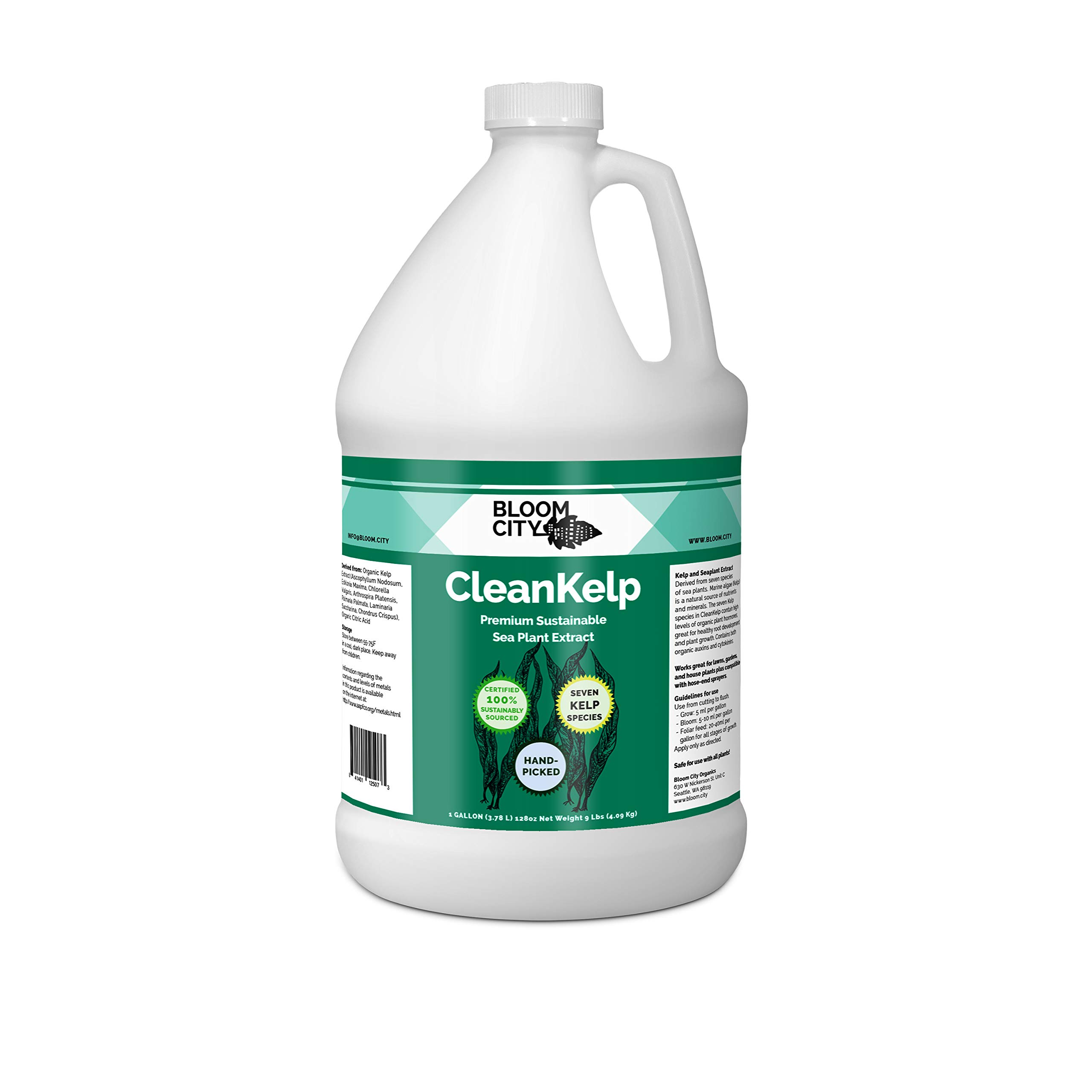 Organic Liquid Seaweed and Kelp Fertilizer Supplement by Bloom City Gallon, (128 oz) Concentrated Makes 750 Gallons