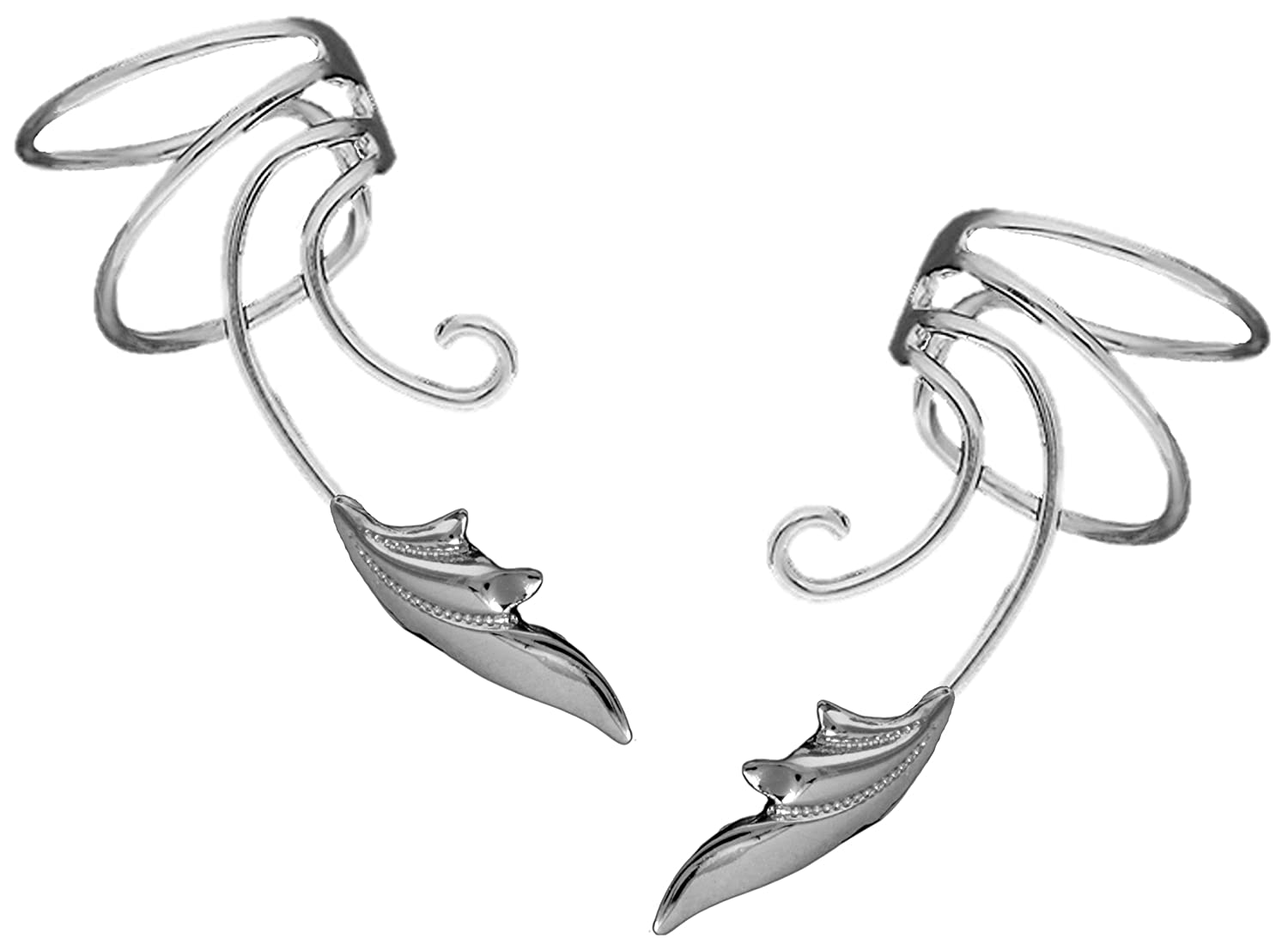 51e2fe54e96 Delicate Leaf Curly Wave Ear Cuff Non-pierced Cartilage Wrap Earring Pair  in Sterling Silver
