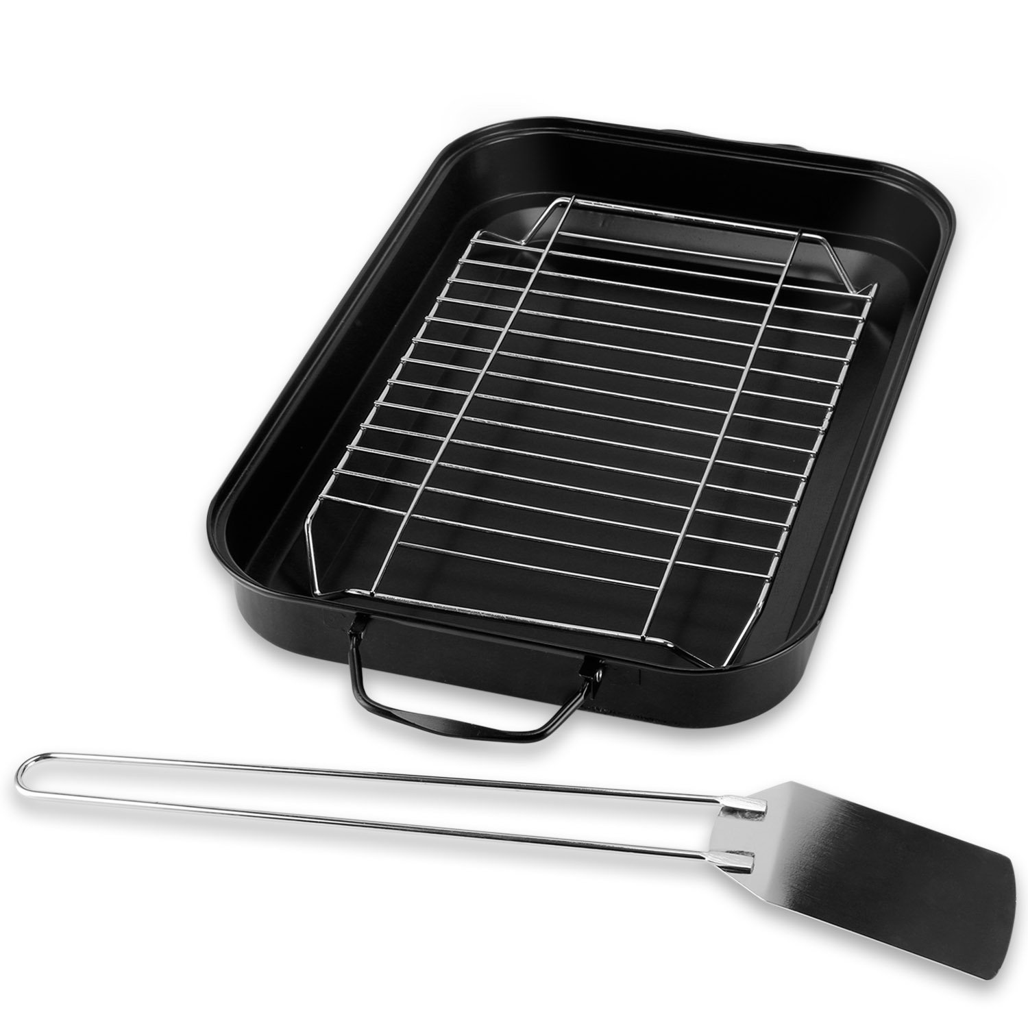 Sougem Roasting Pan with Rack,15 inch by 10 inch,Stainless Steel,Non-stick,Rectangular,Handle,with a Turner,Black.