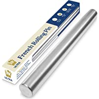 """Dishwasher-Safe Professional Tapered French Rolling Pin for Baking - 15.75"""" Smooth Stainless Steel Metal has Tapered…"""