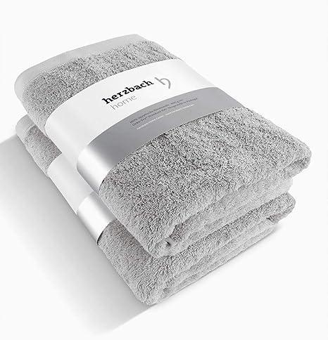 Herzbach Home - Juego de 2 toallas de mano de algodón egipcio de gran calidad, 50 x 100 cm, 600 g/m², color gris plateado: Amazon.es: Hogar