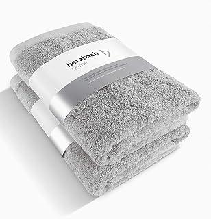 herzbach Home - Juego de 2 toallas de ducha de calidad premium, 100% algodón egipcio, 70 x 140 cm, 600 g/m², algodón, plateado, 70 x 140 cm: Amazon.es: Hogar