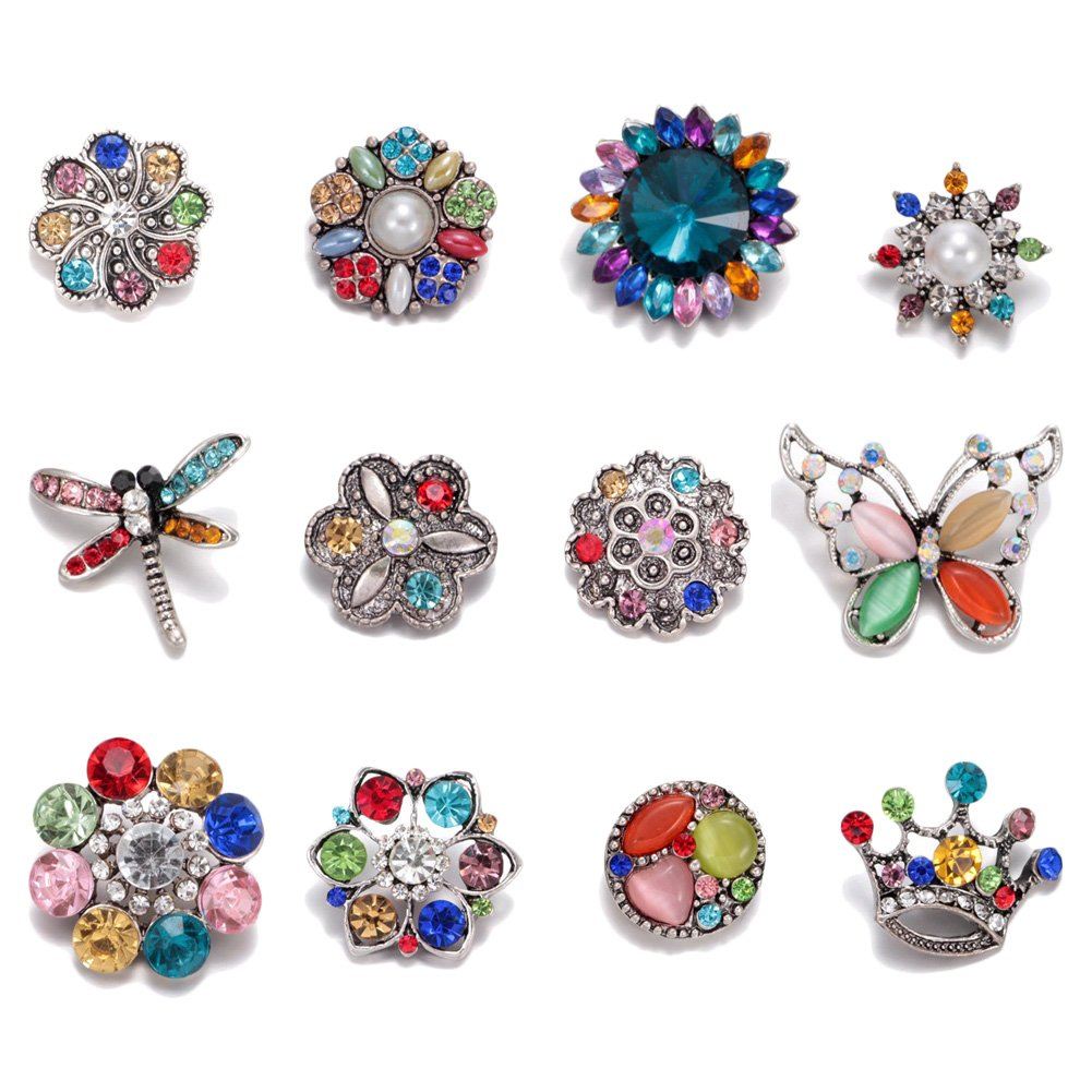 Souarts 12pcs Christmas Snap Charm Santa Stocking Gift Button Christmas Tree Hat Snap Button for Jewelry Bracelet Making
