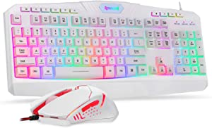 Redragon S101 Wired Gaming Keyboard and Mouse Combo RGB Backlit Gaming Keyboard with Multimedia Keys Wrist Rest and Red Backlit Gaming Mouse 3200 DPI for Windows PC Gamers (White)
