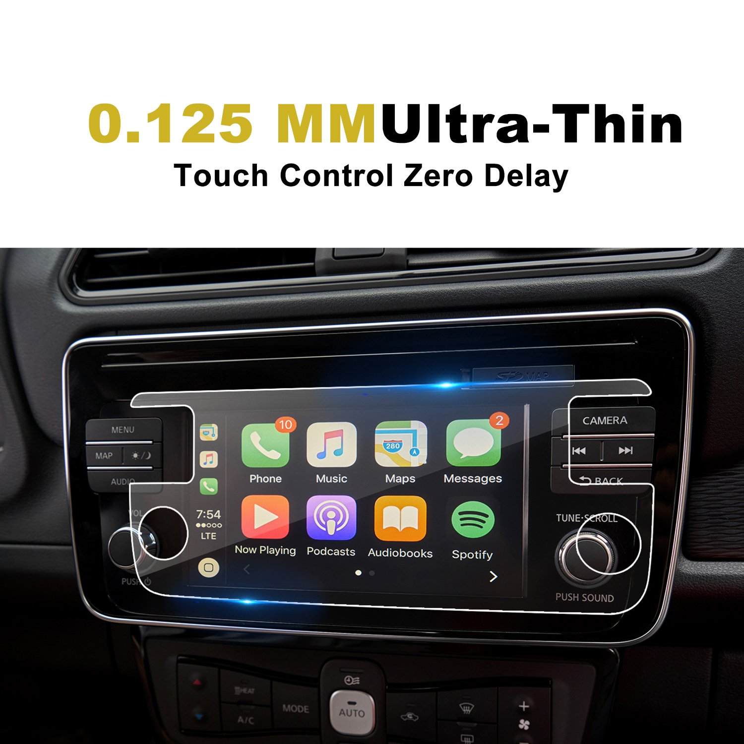 Infotainment Center Touch Display Screen Protector Anti-Glare High Clarity LiFan 2018 Nissan Leaf 7 Inch 2PCS LFOTPP 2018 Nissan Leaf ZE1 NissanConnect 7 Inch PET Car Navigation Screen Protector