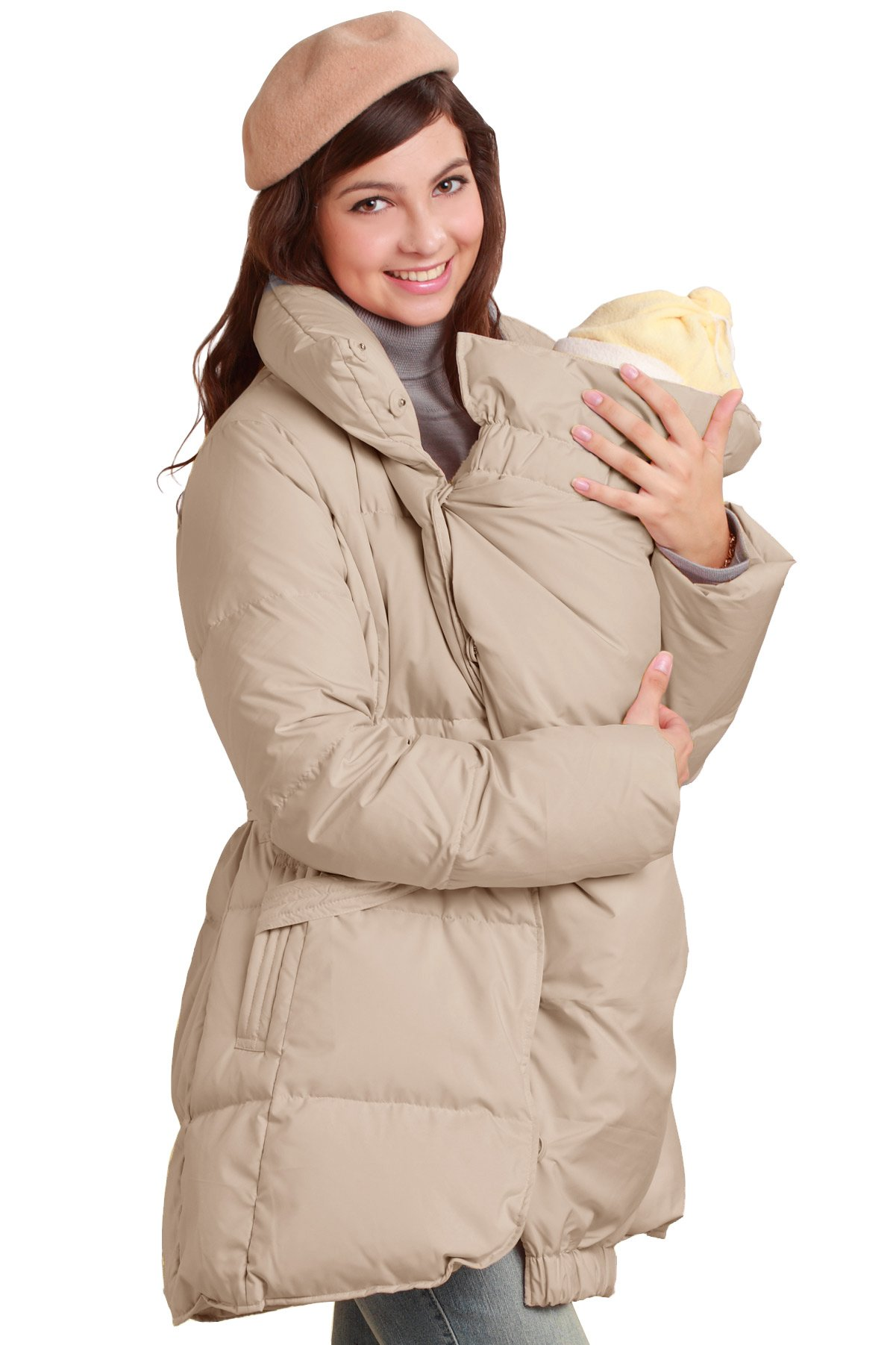 Sweet Mommy Maternity and Mother Down Coat Removable Baby Panel Grege, L