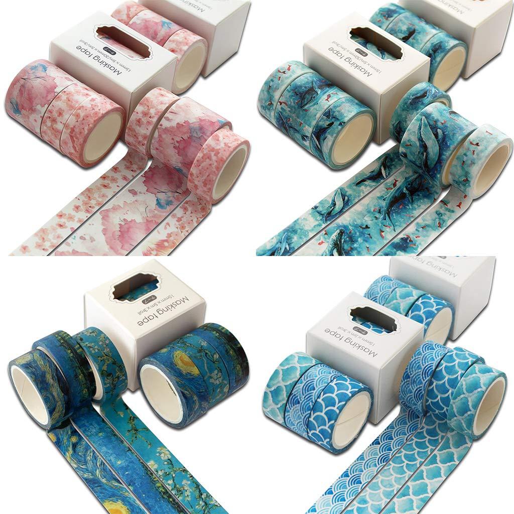 Ocean diario Multi-Color Nastro Adesivo Carino Fai da Te YFairy Decorazione Adesiva Set di Nastri Washi Scrapbooking 3 Pezzi