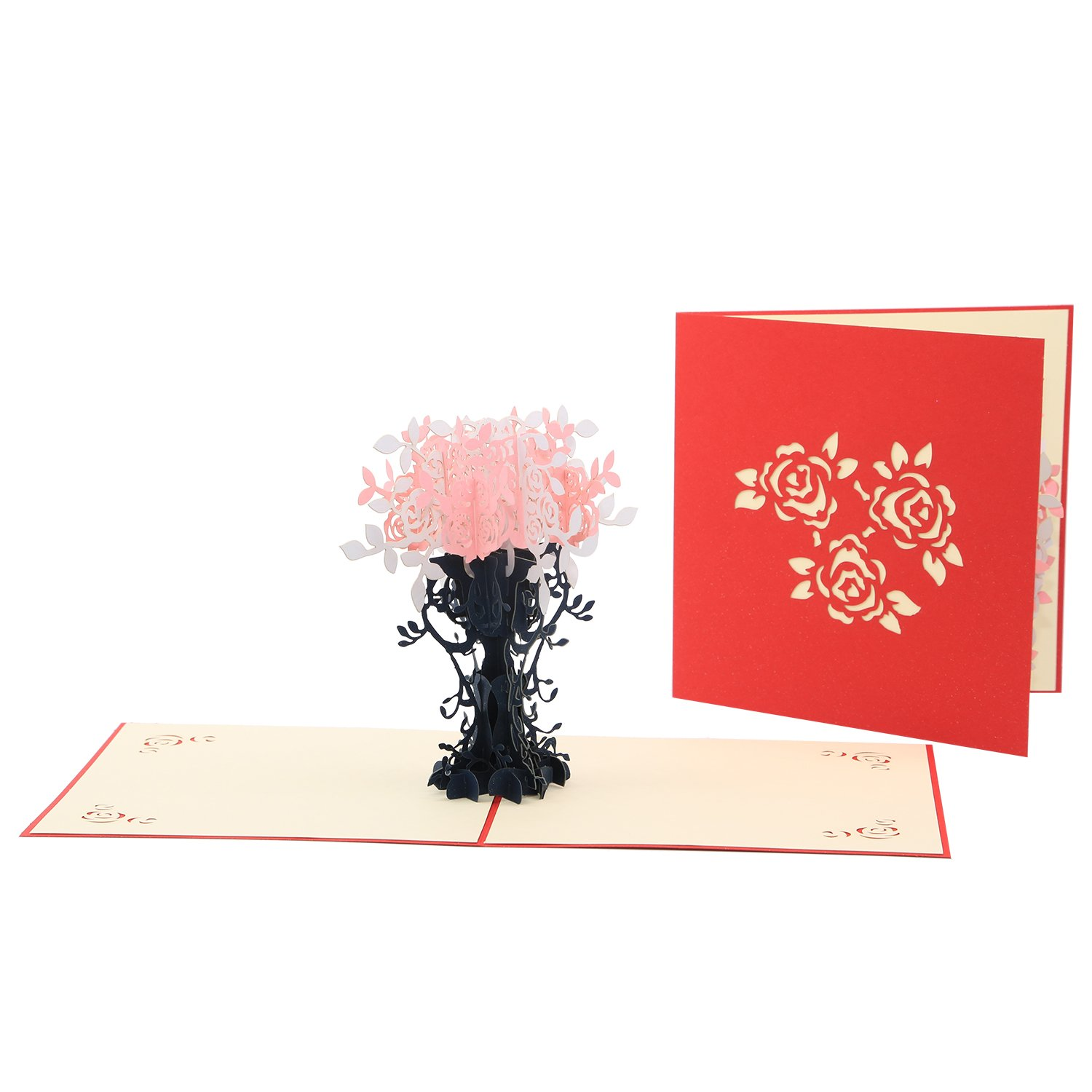 3D Pop Up Greeting Card Ascending Pastel Pink Rose Anniversary Cards Congratulations Cards Thank You Love Card by SolarMatrix
