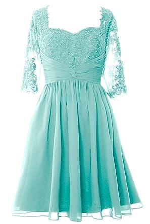 MACloth Elegant Half Sleeve Mother of Bride Dress Midi Cocktail Formal Gown  (2, Aqua